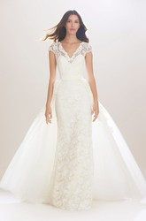 Sheath Appliqued V-Neck Cap-Sleeve Long Lace Wedding Dress With Ribbon And Illusion