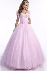 Lace-Up Back Sequined Tulle Quinceanera Dress With Beaded Corset