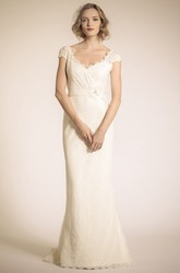 Sheath V-Neck Floor-Length Cap-Sleeve Lace Wedding Dress With Flower And Deep-V Back