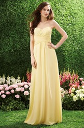 Sweetheart A-Line Chiffon Bridesmaid Dress With Lace Detail And Ruches