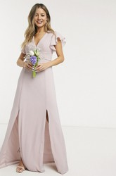 Front Split Chiffon Ethereal Ruching Top V-neck Cap Sleeve Bridesmaid Dress