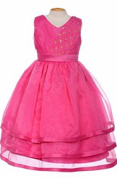 Tea-Length V-Neck Pleated Tiered Organza&Satin Flower Girl Dress With Sash