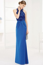 Halter Sheath Long Prom Dress With Appliqued Top And Waist Bow