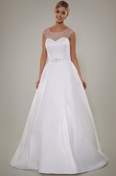A-Line Beaded Scoop Floor-Length Cap-Sleeve Satin Wedding Dress With Keyhole Back And Waist Jewellery