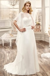 Ruching Chiffon Wedding Dress With Open Back And Brush Train