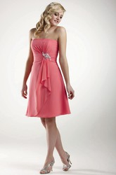 Midi Strapless Jeweled Ruched Chiffon Bridesmaid Dress With Draping
