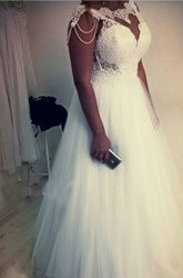 A Line Bateau Lace Tulle Zipper Wedding Dress