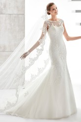 Jewel-Neck Cap-Sleeve Mermaid Wedding Dress With Illusive Design And Appliques