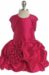 Mini Floral Bolero Floral Lace&Taffeta Flower Girl Dress With Pick Up