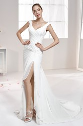 Sweetheart Pleating Wedding Gown with Side Split and Cap Sleeves