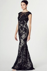 Sheath Cap-Sleeve Appliqued Maxi Scoop Lace Prom Dress With Illusion Back And Sweep Train