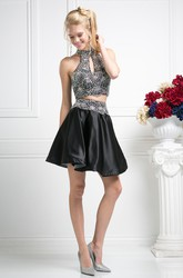 A-Line Mini High Neck Sleeveless Satin Dress With Beading
