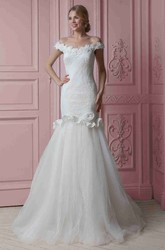 Trumpet Floor-Length Off-The-Shoulder Floral Lace&Tulle Wedding Dress With Ruffles And Appliques