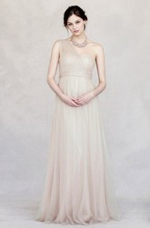 Floor-Length Criss-Cross Empire One-Shoulder Sleeveless Tulle Bridesmaid Dress
