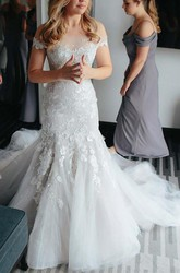 Mermaid Trumpet Off-the-shoulder Lace Tulle Zipper Wedding Dress