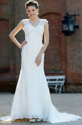 V-Neck Floor-Length Beaded Lace Wedding Dress With Court Train And V Back