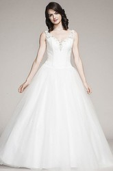 Ball Gown Sleeveless V-Neck Floor-Length Beaded Tulle&Lace Wedding Dress With Appliques