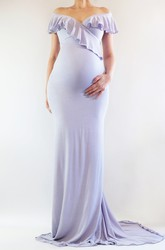 Sheath Sweep Brush Train Short Sleeve Empire Maternity Dress