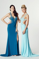 Sleeveless Beaded Strapped Jersey Prom Dress