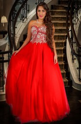 A-Line Beaded Floor-Length Sleeveless Sweetheart Tulle Prom Dress With Bow And Ruffles