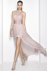 Floor-Length High-Neck Lace Sleeveless Chiffon&Satin Prom Dress With Broach