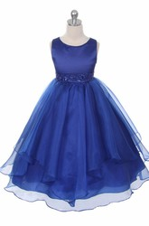 Tea-Length Tiered Beaded Sequins&Organza Flower Girl Dress With Sash
