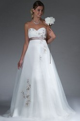 Empire Sweetheart A-Line Tulle Bridal Gown With Applique And Sash