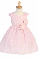 Tea-Length Tiered Ruched Tulle&Lace Flower Girl Dress
