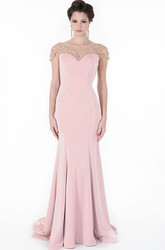Sheath Beaded Cap-Sleeve Floor-Length Scoop-Neck Jersey Evening Dress With Bow