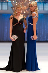 Sheath V-Neck Maxi Beaded Jersey Prom Dress