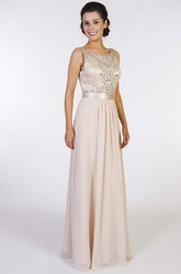 A-Line Long Scoop-Neck Beaded Sleeveless Chiffon Prom Dress