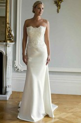 Sheath Floor-Length Strapless Sleeveless Appliqued Satin Wedding Dress