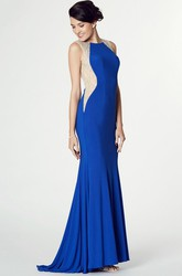 Scoop Neck Sleeveless Beaded Jersey Prom Dress With Brush Train