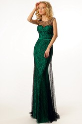 Sheath Maxi Scoop-Neck Sleeveless Lace&Satin Prom Dress