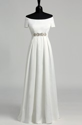 A Line Celebrity Floor-length Beading Pleats Satin Wedding Dress