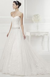 Sweetheart Beading Waist Lace Gown With Removable Lace 3-4-Sleeve Jacket
