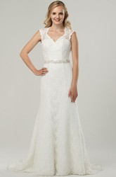 Maxi V-Neck Beaded Bowed Lace Wedding Dress With Sweep Train And Keyhole