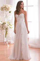Sweetheart Long Wedding Dress With Ruffles And Sequined Bodice