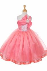 Broach Tea-Length Tiered Bowed Sequins&Organza Flower Girl Dress With Ribbon