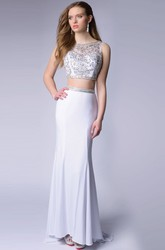 Two Piece Sleeveless Chiffon Homecoming Dress Featuring Glimmering Bodice
