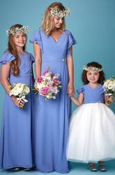 Draped Petal Sleeve V-Neck Chiffon Bridesmaid Dress