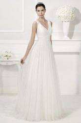 V Neck V Back Emprie Pleated A-Line Tulle Bridal Gown With Jewels