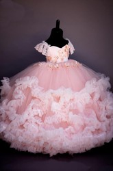 Floral Sweetheart Cap-Sleeve Low-V Back Tier Flower Girl Dress