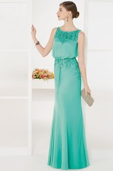 Bateau Sleeveless Chiffon Long Prom Dress With Sash And Crystal Embroidery