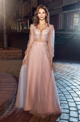 A-Line Maxi V-Neck Puff Long Sleeve Tulle Illusion Dress With Appliques