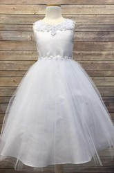 Floral Tea-Length Appliqued Beaded Tulle&Sequins Flower Girl Dress With Tiers