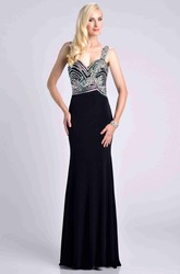 One-Shoulder Sheath Chiffon Gown With Crystal Embellished Bodice