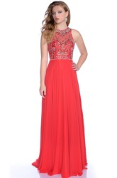 Sleeveless Jewel Neck A-Line Chiffon Prom Dress Featuring Rhinestone Bodice