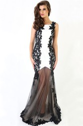 Long Square Appliqued Jersey&Tulle Prom Dress With V Back