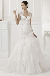 Sweetheart Mermaid Tiered Tulle Gown With Removable Lace Cap Sleeves